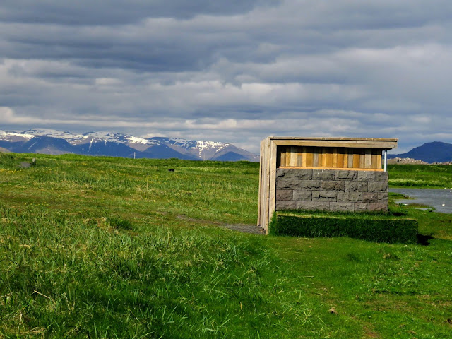 Bird hide spotted on a hike through Bakkatjörn Nature Reserve in Reykjavik Iceland
