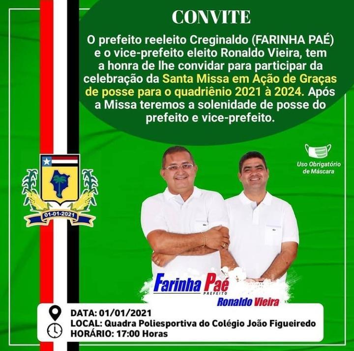 Farinha Paé convida população basiliense para cerimônia de posse no dia 1º de janeiro