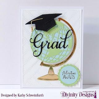 Divinity Designs Stamp Set: Adventure Awaits, Custom Dies: Circles, Scalloped Circles, Globe & Stand, Grad