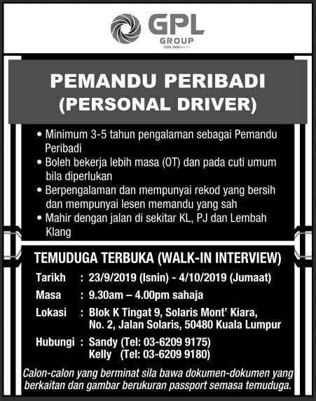 Temuduga Terbuka Pemandu Peribadi 04 Okt 2019 Job Jawatan Kosong