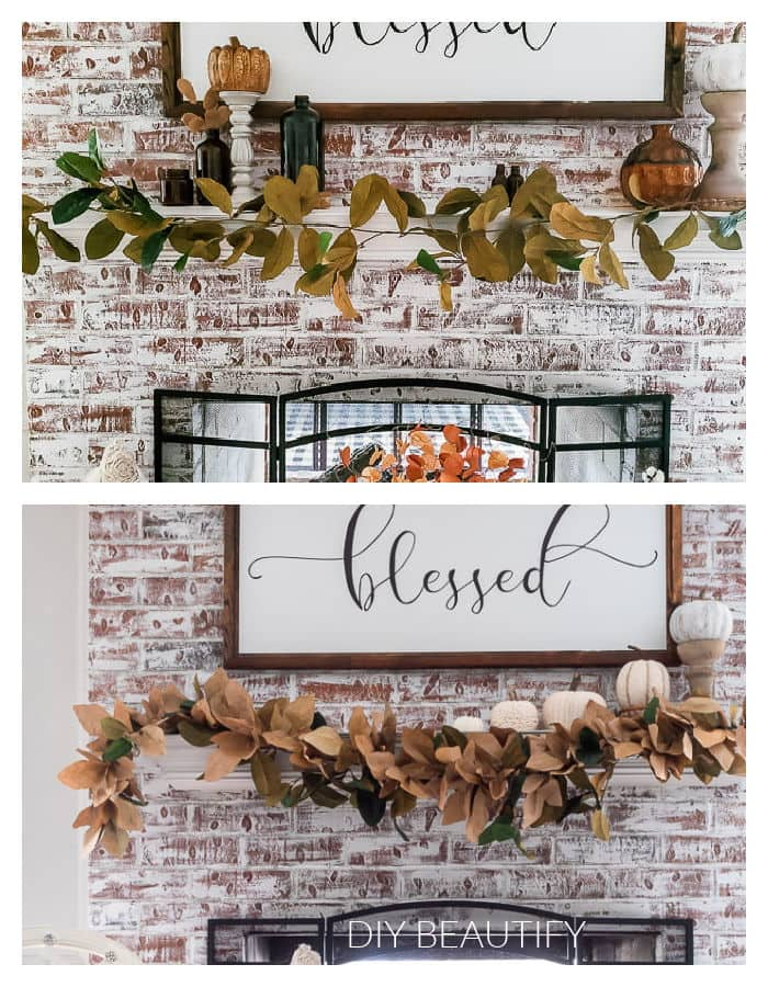 magnolia garland before and after adding paper bag leaves