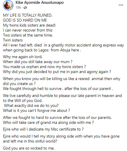 God why are you so wicked to me? Lady cries out after losing her entire family members