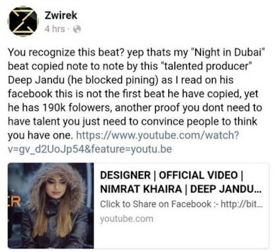 Zwirek Beat Facebook post Against Deep Jandu