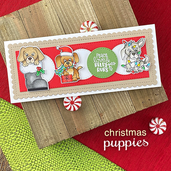 Puppy Slimline Christmas card by Jennifer Jackson | Christmas Puppies Stamp Set and Slimline Frames & Portholes Die Set by Newton's Nook Designs #newtonsnook #handmade