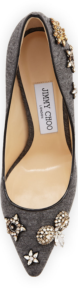 Jimmy Choo Romy Crystal Flannel 100mm Pump, Gray