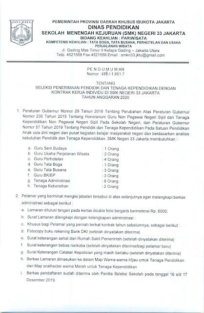 Smk Negeri 33 Jakarta Pengumuman Seleksi Penerimaan Pendidik Dan Tenaga Kependidikan Dengan Kontrak Kerja Individu Di Smk Negeri 33 Jakarta