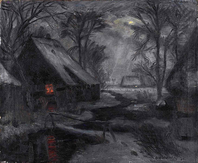 an Otto Modersohn painting of a warm window at night