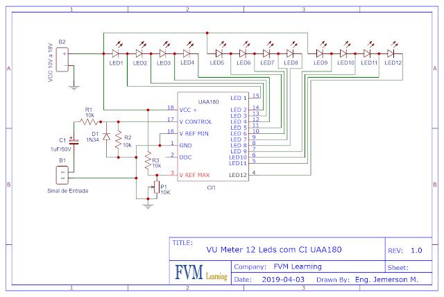 Esquemático Elétrico VU Meter 12 Leds FVML