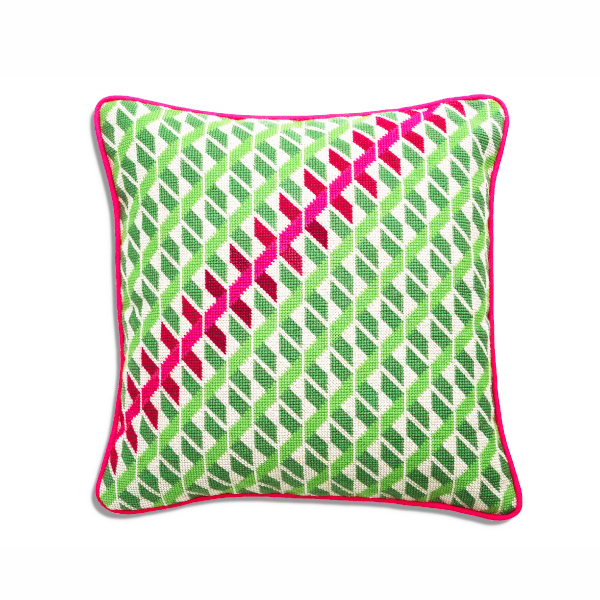 Geometric cushion in green and pink