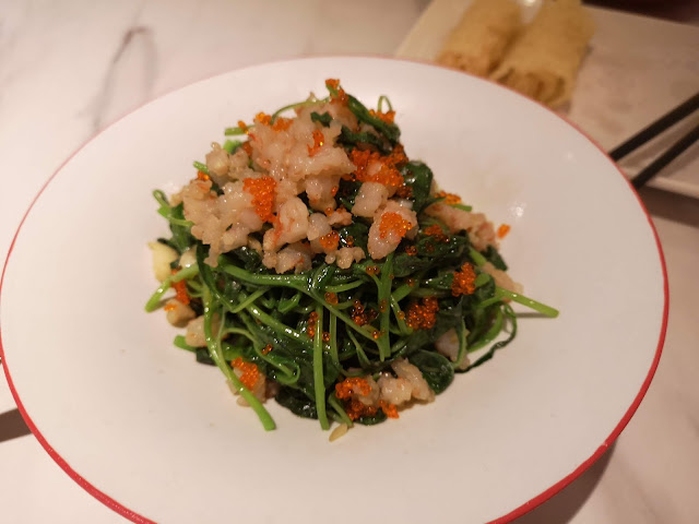 Sautéed Chinese spinach with prawn paste and fish roe
