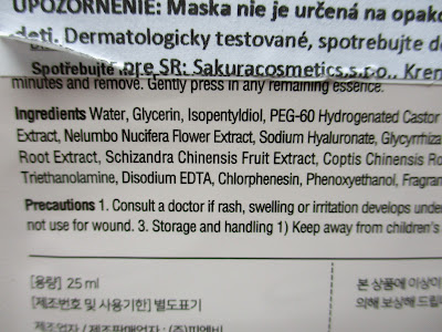 Prírodná pleťová maska Secriss - Červený ženšen zloženie