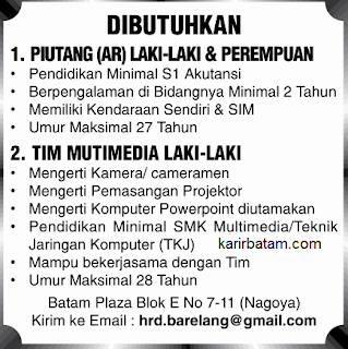 Lowongan Kerja CV. Barelang Multimedia