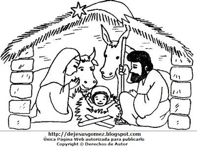 Dibujo del Nacimiento de Jesús para colorear pintar imprimir recortar y pegar. Dibujo del Nacimiento de Jesús hecho por Jesus Gómez