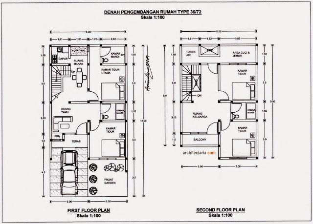 Contoh desain denah rumah minimalis type 36 lantai 2