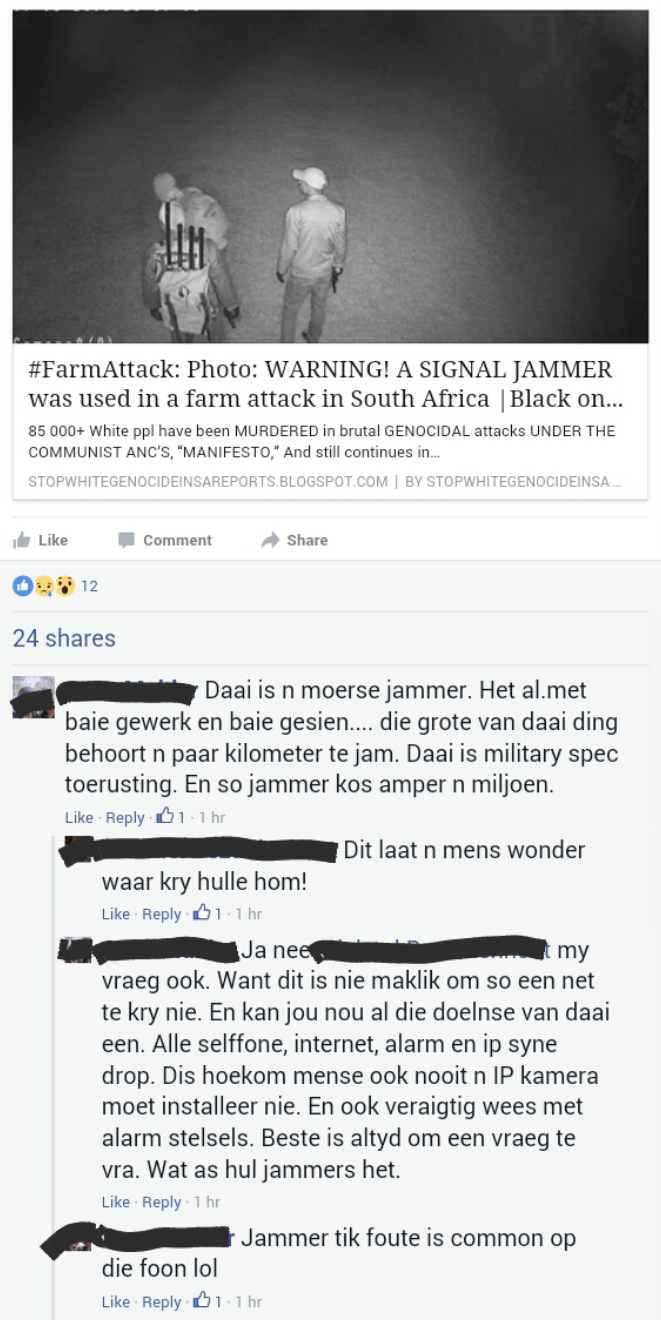#FarmAttack: Photo: WARNING! A SIGNAL JAMMER was used in a farm attack in South Africa