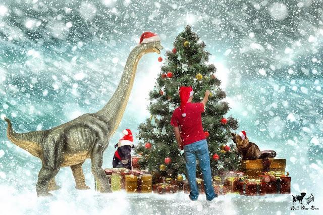 Dinosaur Christmas Composite (©Jenny Bell @ Bell Fur Zoo)