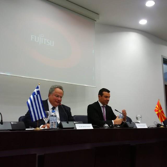 Griechischer Außenminister spricht vor Diplomaten in Skopje