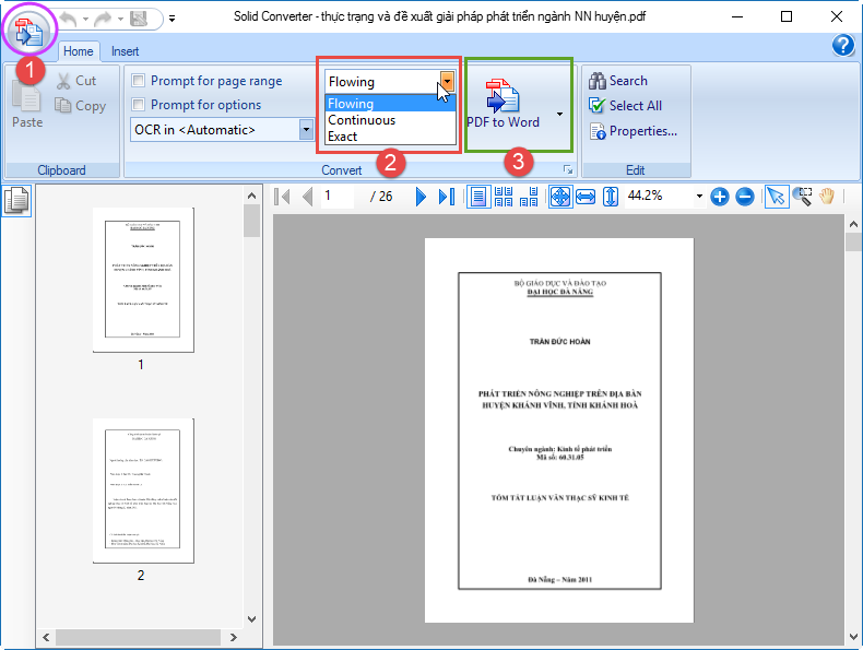 after installing solid converter you can open any clean pdf file by clicking on the round button 1 then choose the conversion mode 2 and choose the