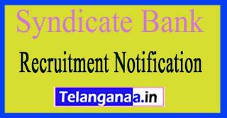 Syndicate Bank  Recruitment Notification 2017