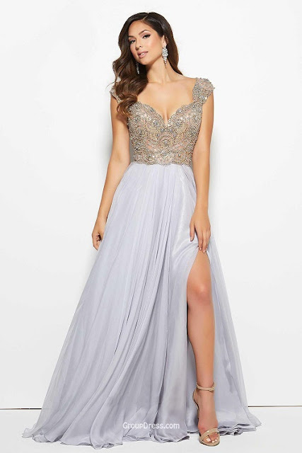 backless grey prom dress