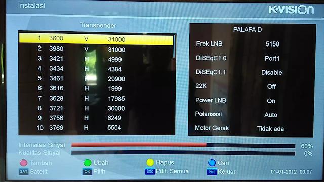 K Vision Intensitas Sinyal 60% Kualitas Sinyal 0