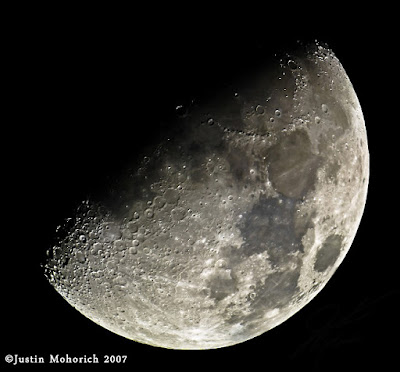 Eight pictures were taken through the Orion XT8 to make this stitched   composite of our Moon, using an Olympus E510.   Image by Justin Mohorich