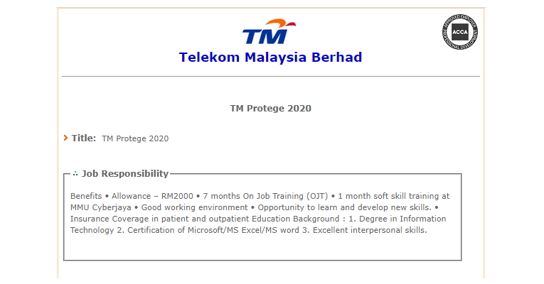 Jawatan Kosong di Telekom Malaysia Berhad TM 2020