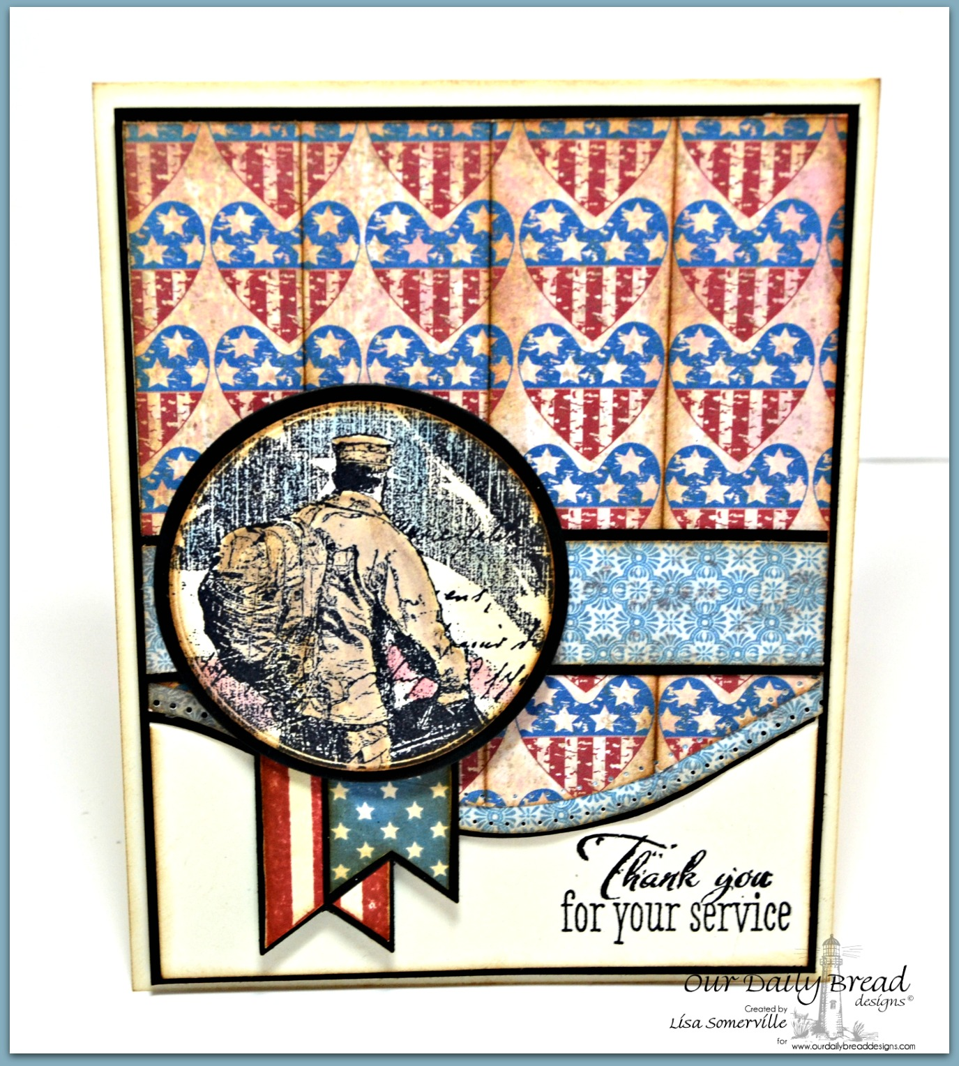 Stamps - Patriotic Pennants, Not Forgotten, ODBD Custom Circle Ornaments Die, ODBD Custom Pennants Die, ODBD Heart and Soul Paper Collection