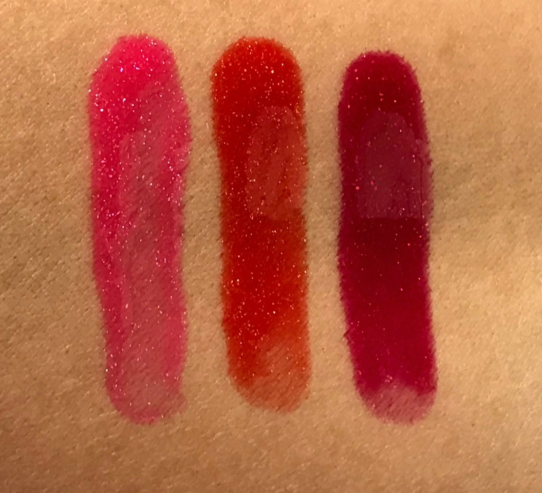 Clarins Water Lip Stain Swatches Summer 2019 Sparkling Rose Water, Sparking Red Water, Sparkling Violet Water