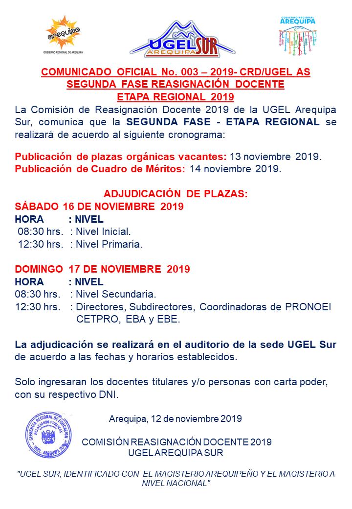 cronograma reasignacion 2019 etapa regional