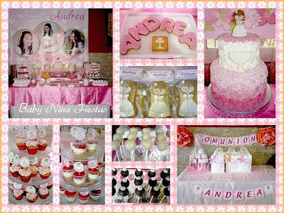 mesa dulce comunion rosa y naranja