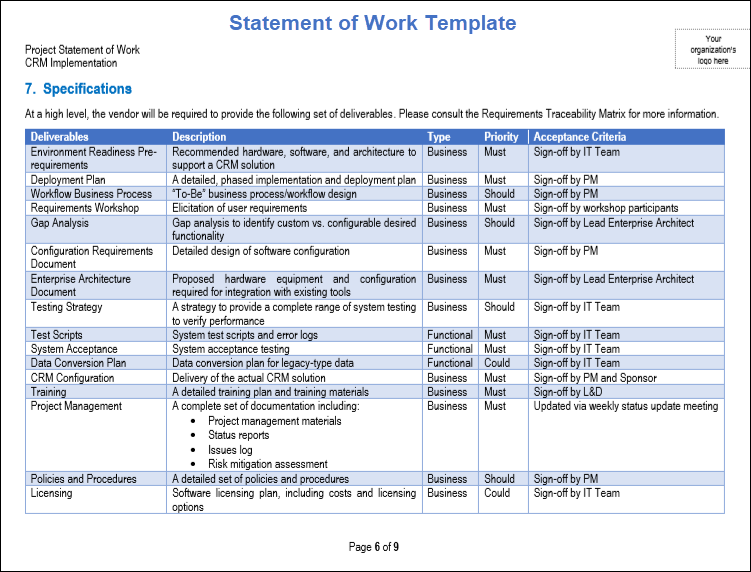 statement of work template pdf, Statement of Work Template