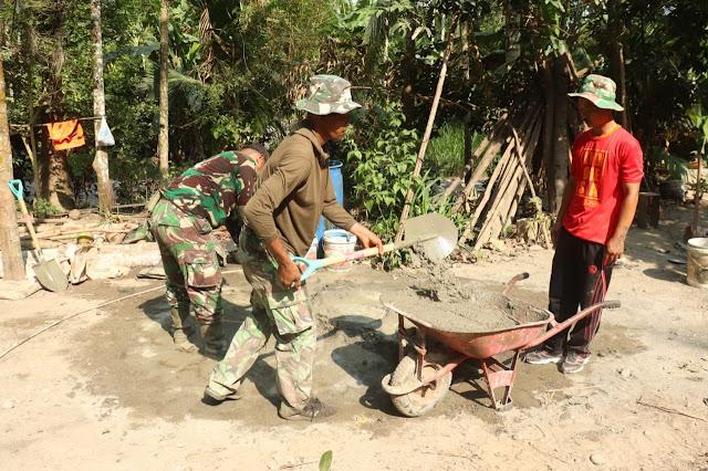 Mulyadi : Berterimakasih Kepada TNI Mulai Cor Pondasi RTLH Milik Rumah Saya