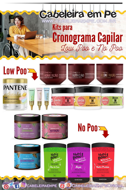 Produtos para Cronograma Capilar das marcas Amend, Pantene, Abela, Kanechom e Seda - Cronograma Capilar - Kits Low Poo e No Poo