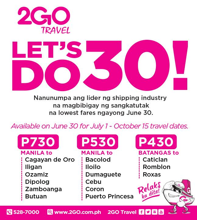 Attention travelers! 2Go Promo Fares available for trips Batangas to/from Caticlan and Roxas! Book your trips to/from Caticlan and Roxas via 2Go Travel Festival Sea Sale and enjoy sale ticket as low as P for one-way voyage. 2Go promo fare already include the fare, Fuel Surcharge and VAT.