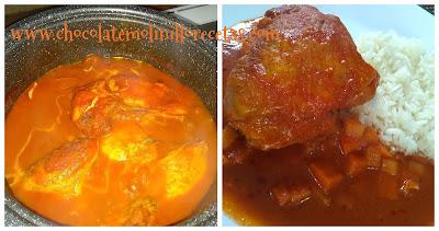 Pollo en chile rojo y tomate
