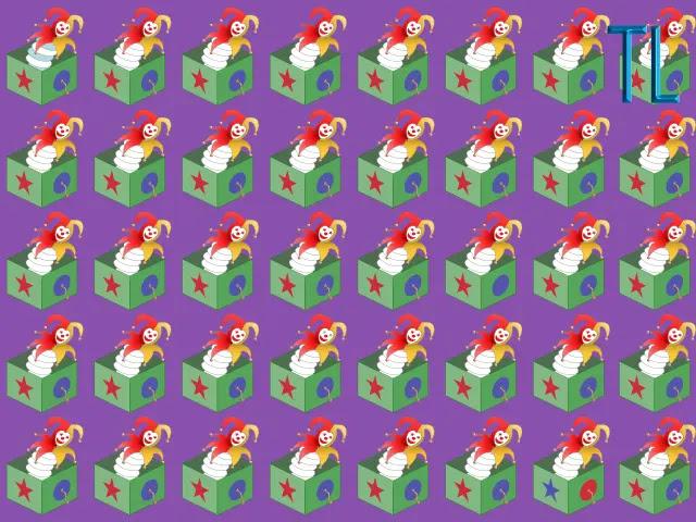 Ilustración con muchos arlequines saliendo de caja color verde, sobre un fondo morado