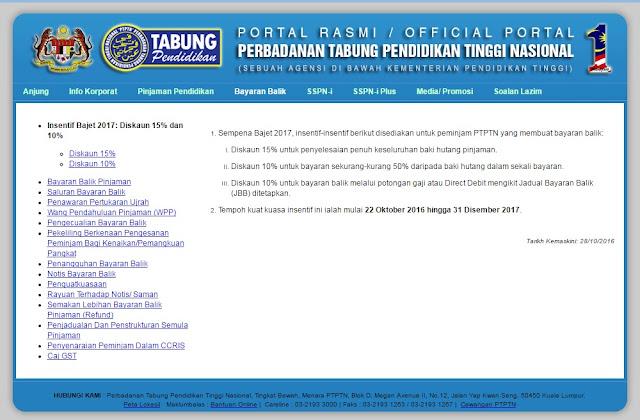 Cara bayar balik pinjaman PTPTN menerusi potongan gaji