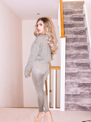 What is the best place to buy The Femme Luxe Khaki Off The Shoulder Loungewear Set in model Imana.