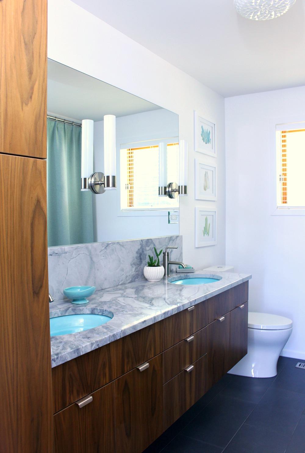 Mid-Century Modern Inspired Bathroom Renovation, Before + After - Floating Walnut Vanity, Quartzite Counters, Kohler Purist Fixtures, Aqua Sinks - from www.danslelakehouse.com