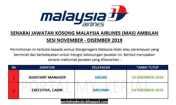 Jawatan Kosong Malaysia Airlines Mas Ambilan Sesi November Disember 2019 My Kerja