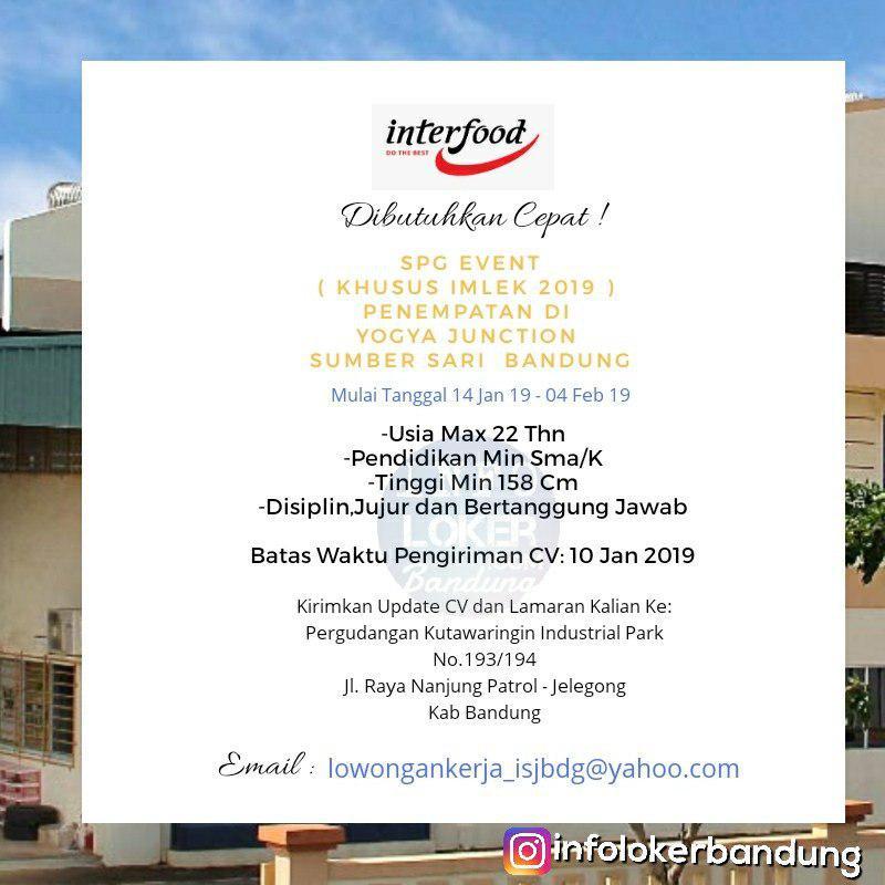 Lowongan Kerja PT. Interfood Sukses Jasindo Bandung Januari 2019