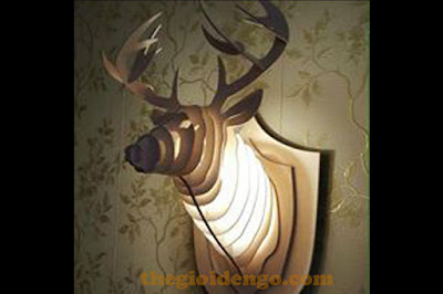 Thế giới đèn gỗ - Đèn gỗ trang trí đầu hươu 3