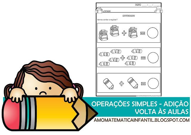 Adição simples com apoio de figuras Volta às aulas