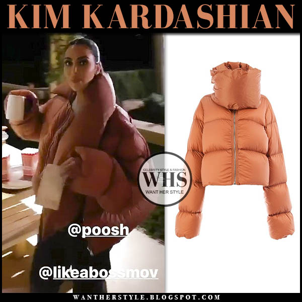 Kim Kardashian in orange padded oversized jacket rick owens. celebrity winter outfit december 9