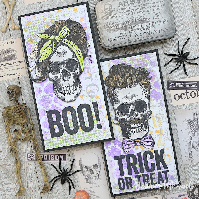 Wicked Hipsters Halloween Cards by Juliana Michaels featuring Tim Holtz Stampers Anonymous Wicked Hipsters and Bold Frights Stamp Sets