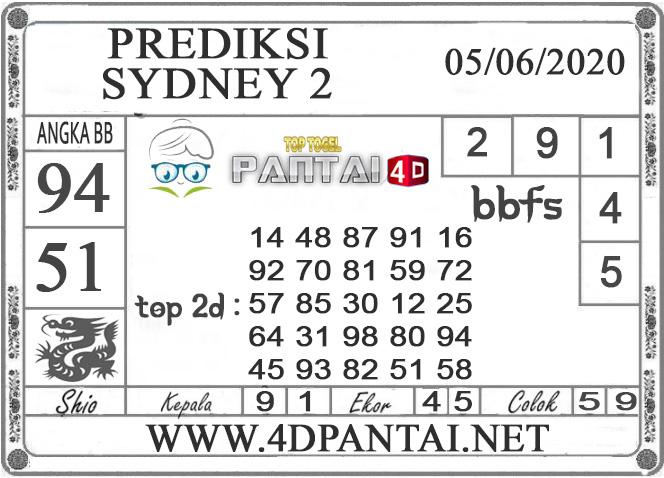 PREDIKSI TOGEL SYDNEY 2 PANTAI4D 05 JUNI 2020