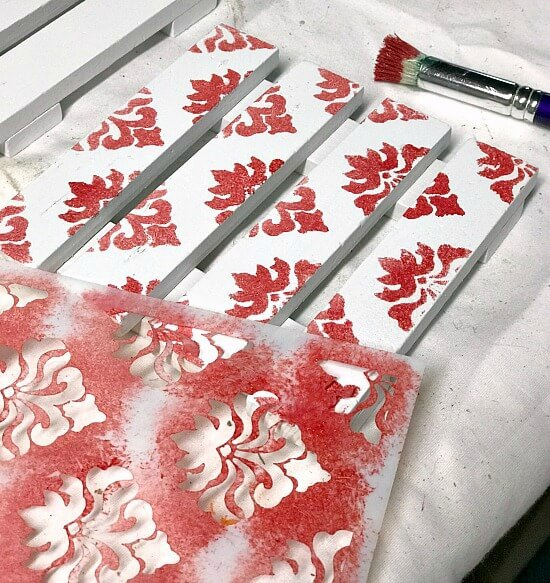 White Stenciled Pallet Christmas Drink Coasters