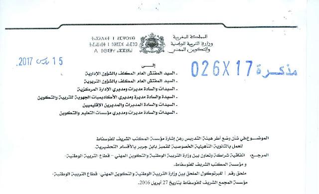 مذكرة : وضع أطر هيئة التدريس رهن إشارة مؤسسة المكتب الشريف للفوسفاط
