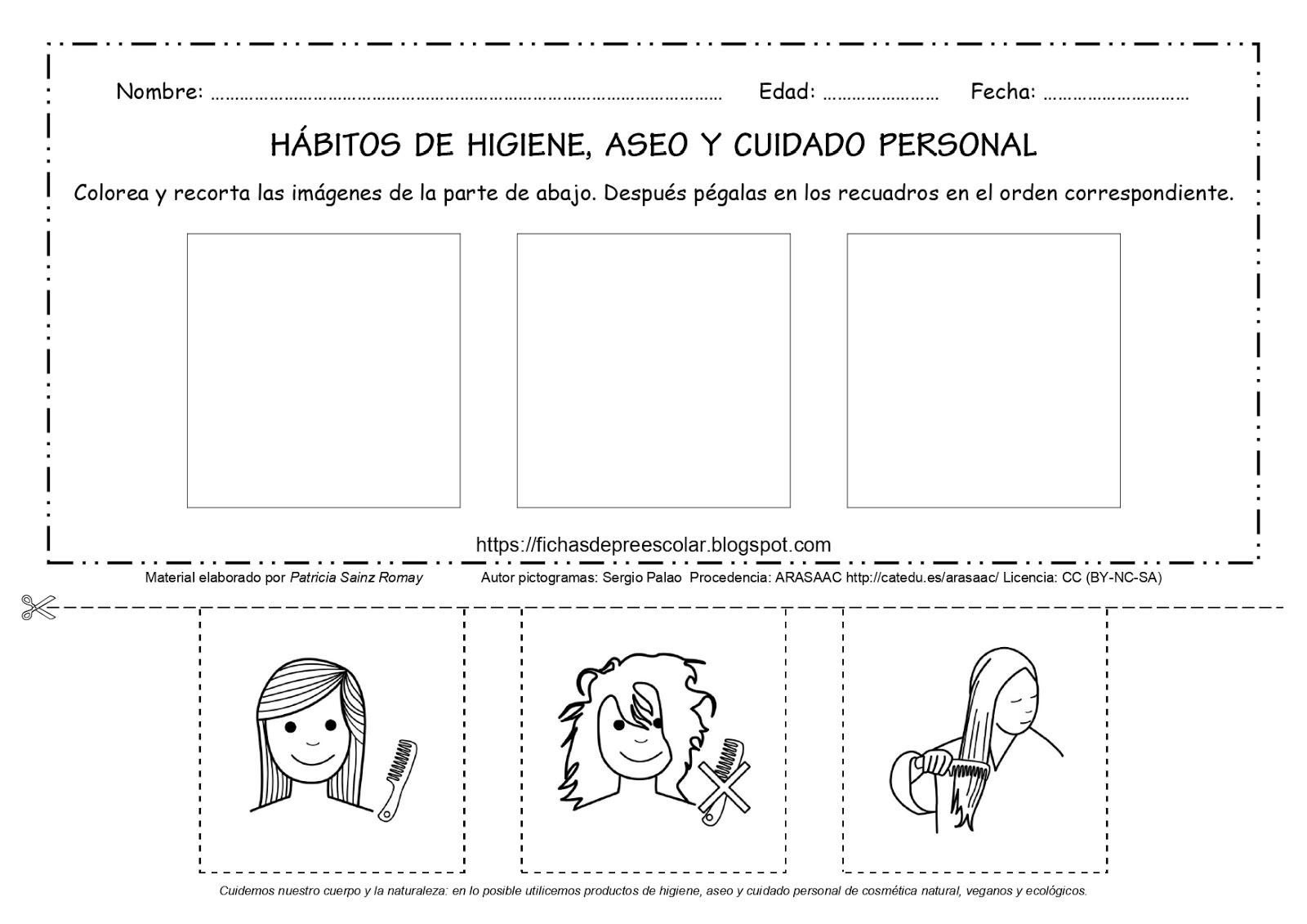 Fichas De Educación Preescolar Hábitos De Higiene Aseo Y